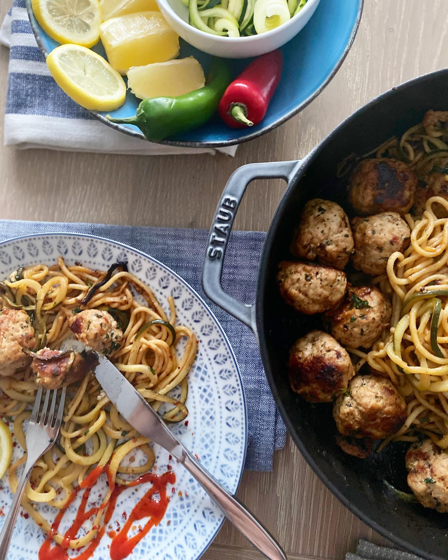 Our Garlic Butter Meatballs with Spaghetti and Courgetti Noodles.